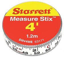 Starrett Measure Stix SM44ME Steel White Measure Tape with Adhesive Backing,