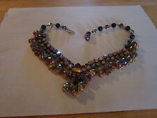 Vintage Aurora Borealis,purples,reds J-hook knecklace, choker,collar-goldtone