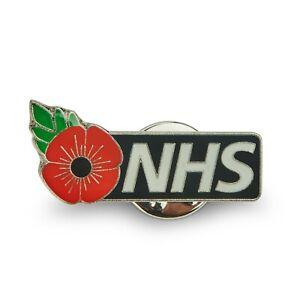 NHS Red Flower Pin Badge Black - Nurse, Doctor, GP