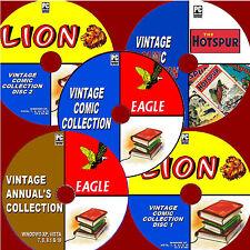 1000 VINTAGE COMICS / ANNUALS LION EAGLE HOTSPUR 30s-80s EDITIONS NEW 5 PC-DVDs