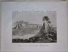 1845 ROVINE CITTA MESSICANA acquaforte Marmocchi Mexico ruins ruinas mexicanas