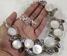 Mother of Pearl Biwa Pearl Topaz Gemstone Handmade Jewelry Silver Necklace N-207