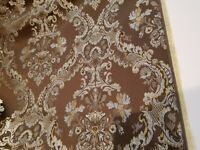 Designer Brocade Jacquard Fabric 54 wide, sold by yard, chocolate blue