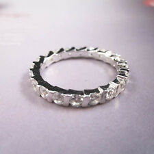 STERLING SILVER White Gold 2.6 karat CT Prong Setting Eternity Band Ring Sz 8