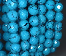 10MM  TURQUOISE GEMSTONE BLUE FACETED ROUND LOOSE BEADS 8""