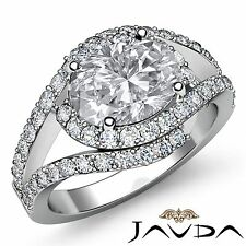 Curve Shank Oval Diamond Halo Engagement Ring GIA F VS1 18k White Gold 2.13ct