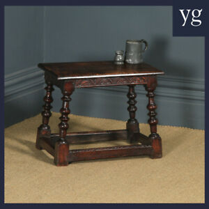 Antique English Carolean Style Oak Joint Stool / Side / Lamp Table c1780 - 1800