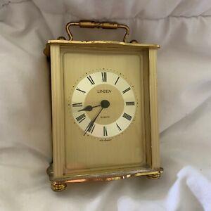 Vintage Quartz Linden Mantel Clock,  Desk Clock Brass West Germany