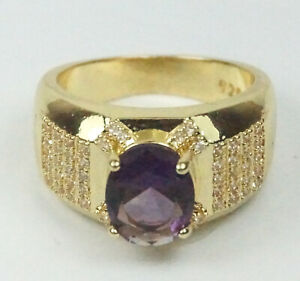 Women's Gold colour Purple Crystal Statement ring UK Size P Costume jewellery