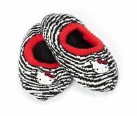 Hello Kitty Zebra Stripes Girls Slipper Socks, Non-Skid Soles  (Size: 13-4)