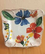"SUR LA TABLE Butterflies & Flowers Square SALAD PLATE 9 3/8"". SCALLOPED. ITALY"