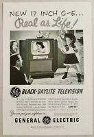 19 Inch Vintage Print Ad 1951 GE Black-Daylite Television