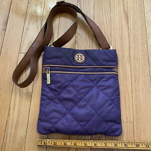 TORY BURCH Quilted Purple Nylon Leather Small Crossbody Bag