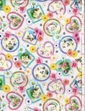 Kitty Glitter Digital Print cotton quilt fabric BTY Studio E Kittens Cats Hearts