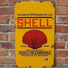 SHELL PETROLEUM MOTOR SPIRIT enamel sign oil vitreous advertising NOS VAC160