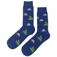 NWT Frog Dress Socks Novelty Men 8-12 Blue Fun Sockfly