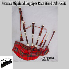 Scottish Highland Bagpipes Rose Wood Color RED, Full Nickel Silver M, FREE BAG