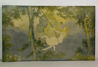 "Antique Maxfield Parish STYLE Original Print Art Deco 1920s Swinging Girl 30"""