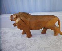 """Vintage Hand Carved Wood Lion Made in Kenya  7 1/2"""" X 4 1/2"""""""