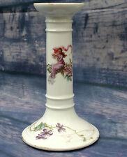 Antique Porcelain Hand Painted Candlestick Art Nouveau  Signed Incised IY & G49