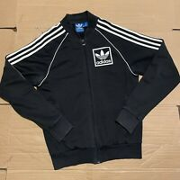 Men's Black Adidas Full Zip Jersey Track Jacket Brand with 3 Stripes Size S