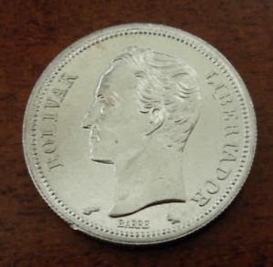 Venezuela 1965 Silver 1 Bolivar UNC