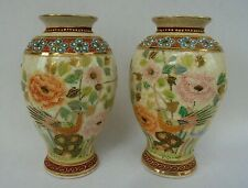 VINTAGE JAPANESE SATSUMA FINE MORIAGE RELIEF VASES - ORIENTAL BIRDS AND FLOWERS