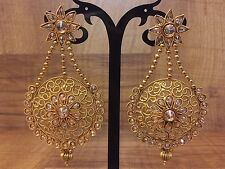 Indian Pakistani Ethnic Bollywood Gold Plated Crystal Stone Jhumki Bali Earring