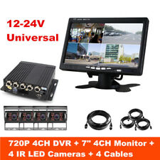 """7""""HD LCD Monitor 4CH Realtime Recording DVR Front Rear Side CCD Camera Truck Van"""