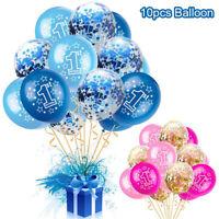 10pcs Blue Pink One Year Old Boy Girl 1st Birthday Confetti Latex Balloons Set