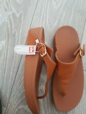 Fitflop Leather Toe Post Womens Ladies Brown Tan Flip Flop Sandals Size 6.5