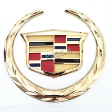 "New 6"" Gold Front Grille Emblem Sticker Wreath Crest Badge for CADILLAC Ornament"