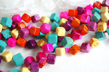 Howlite 8-10mm GEMSTONE CUBES bright Colors 1 long strand about 36 beads how0113