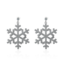 Solid 925 Sterling Silver Zircon Snowflake Stud Dangle Earrings Fine Xmas Gift