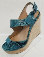 Kenneth Cole NY Espadrille Wedge Open Toe Blue Snake Print Leather Shoes Size 7M