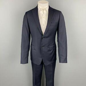 SAMUELSOHN Size 38 Navy Stripe Wool Notch Lapel Custom Suit