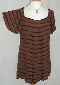 NEW Marina Kaneva Tan & Black Striped Tunic with Gathered Front UK 16 to 32