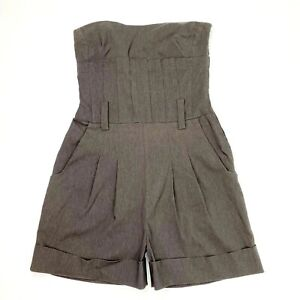CUE Women's Size 8 Grey Sleeveless Strapless Cuffed Hem Tailored Playsuit Romper