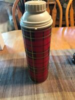 "Thermos Co Brand Vintage Red Plaid Vacuum Bottle Quart Size 13"" Tall King Seeley"