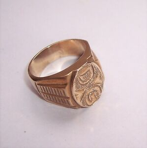 Vintage Heavy BRASS Signet Style SEAL RING - DG - Size W