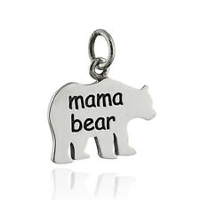 Mama Bear Charm - 925 Sterling Silver - Pendant Mother Kids Mom Mommy NEW