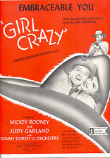 "Girl Crazy Sheet Music ""Embraceable You"" Judy Garland Mickey Rooney Tommy Dorsey"