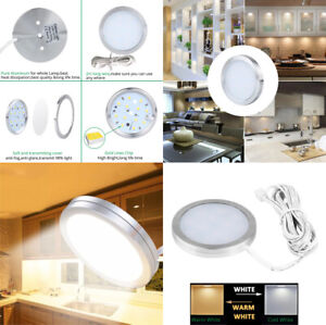 60 x 8mm Super Thin LED PUCK LIGHT for Cabinet, Kitchen, Display - 2 colour opt