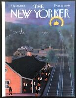 1964 Suburbs Train Station City Pot of Gold art Sep 19 New Yorker Mag COVER ONLY
