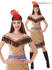 Ladies Deluxe Red Indian Native American Costume Pocahontas Western Fancy Dress