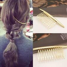 Gold Metal Jewelry Baroque Style Hairclip  Moon Shaped Hair Comb Barrettes