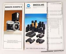 MINOLTA HI-MATIC E AND OTHER INFORMATION, GROUP OF 3 PAMPHLETS