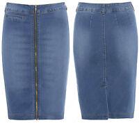 New Denim Zip Pencil Skirt Womens Tube Skirt Stretch Ladies Size 6 8 10 12 14 16