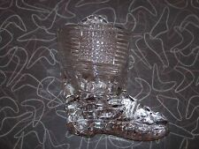 Vintage Pattern Glass Figural Boot Wall Hanging Match Holder
