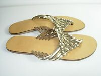WOMENS GOLD LEATHER FLIP FLOPS THONGS FLATS SANDALS COMFORT SHOES SIZE 9 M